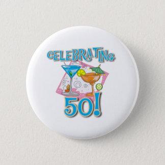 Tropical Drinks Celebrating 50 6 Cm Round Badge