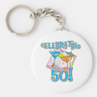 Tropical Drinks Celebrating 50 Basic Round Button Key Ring