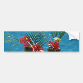 Tropical drinks, Hawaii flowers Bumper Sticker