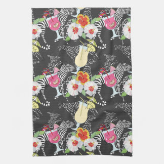 Tropical Drinks With Animals Hand Towel