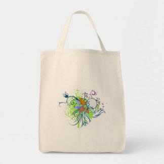 tropical elegance vector design grocery tote bag