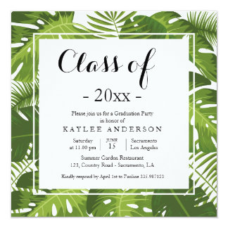 Tropical elegant Graduation Party invitation