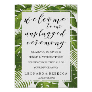 Tropical elegant unplugged ceremony wedding sign