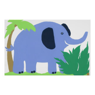 Tropical Elephant Art for Kids, Safari Sky Look Posters
