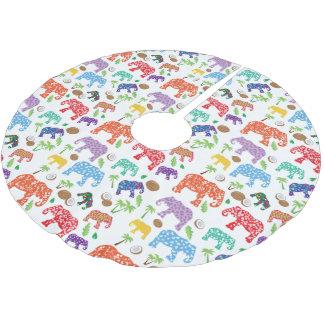 Tropical Elephants Brushed Polyester Tree Skirt