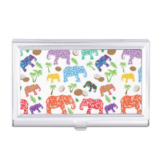 Tropical Elephants Business Card Case