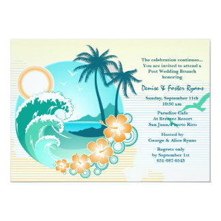 """Tropical Escape Post Wedding Brunch Invitation 5"""" X 7"""" Invitation Card"""