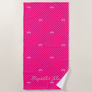 Tropical Exotic ,Flamingos In Love -Personalized Beach Towel