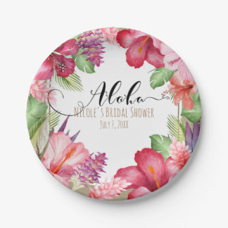 Tropical Exotic Flowers Elegant Hawaiian Aloha Paper Plate