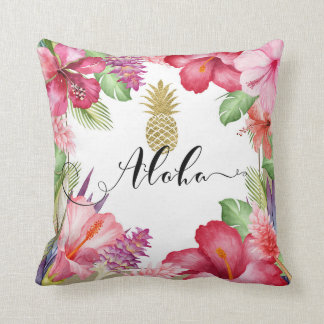 Tropical Exotic Flowers & Gold Pineapple Aloha Throw Pillow
