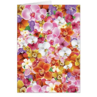 Tropical Exotic Flowers Print Floral Design Card