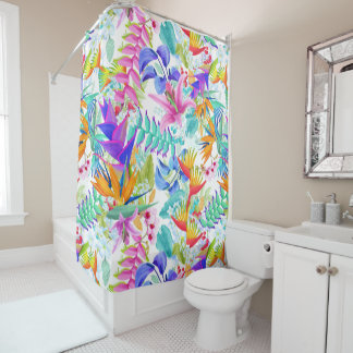 Tropical Exotic Flowers Shower Curtain