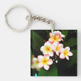Tropical Exotic Frangipani Flower Double-Sided Square Acrylic Key Ring