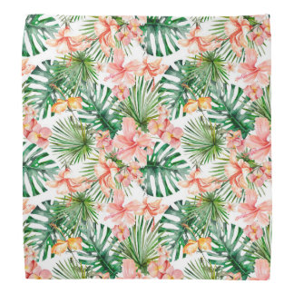Tropical Exotic Jungle Hibiscus Flowers Bandana