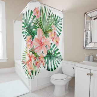 Tropical Exotic Jungle Hibiscus Flowers Shower Curtain