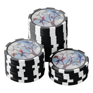 Tropical exotic parrots sitting on the tree poker chips