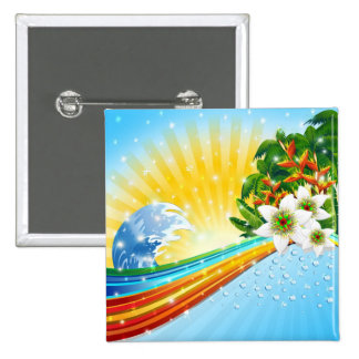 Tropical Exotic Summer Holidays 15 Cm Square Badge
