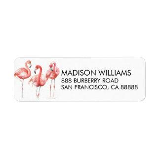 Tropical   Family of Flamingos Return Address Label