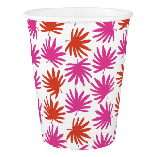 Tropical Fan Print Paper Cups