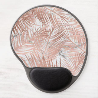 Tropical faux rose gold palm tree leaf marble gel mouse pad