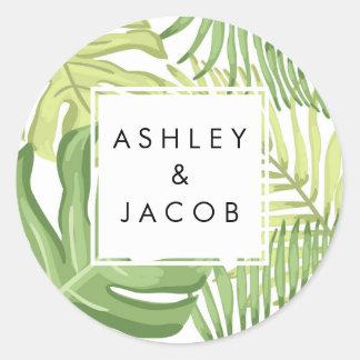 Tropical Favor Tags Tropics Palm Beach Wedding Round Sticker