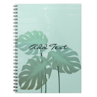Tropical Feel Watercolor Leaves Mint Notebook