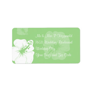 Tropical Feijoa Green and White Hibiscus Wedding Address Label