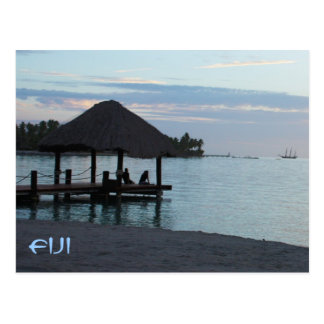 Tropical Fiji Thatched Roof Gazebo Postcard