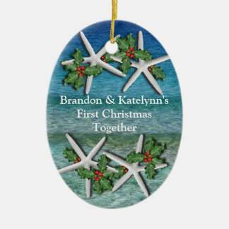 Tropical First Christmas Personalized Ornament