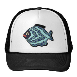 Tropical Fish-01 Turquoise Aqua with Pattern. Cap