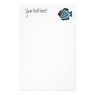 Tropical Fish-01 Turquoise Aqua with Pattern. Custom Stationery