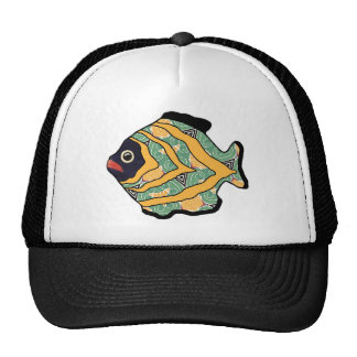 Tropical Fish-04 Green and Gold Pattern Cap