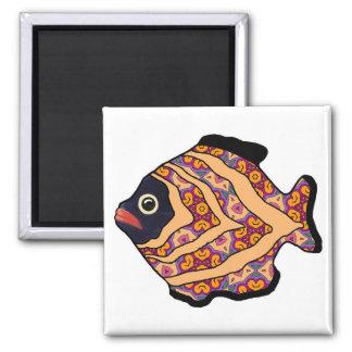 Tropical Fish-10 Dark Red & Orange Square Magnet