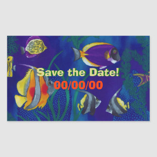 Tropical Fish 1 Save the Date Rectangular Sticker