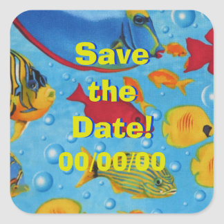 Tropical Fish 2 Save the Date Square Sticker