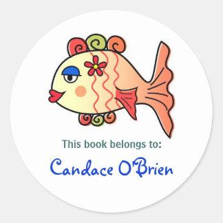 Tropical Fish Bookplate Classic Round Sticker