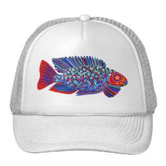 Tropical fish design white trucker hat
