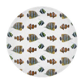 Tropical Fish Frenzy Glass Cutting Board
