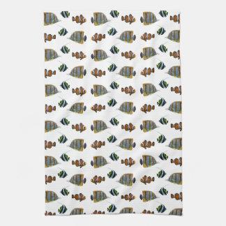 Tropical Fish Frenzy Kitchen Towel (choose colour)