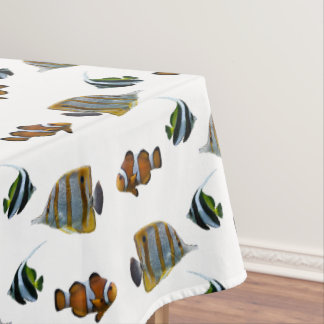 Tropical Fish Frenzy Tablecloth (Choose Colour)