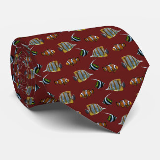 Tropical Fish Frenzy Tie (Burgundy)