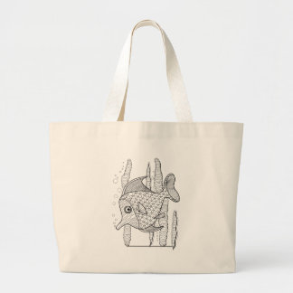 Tropical Fish Line Art Design Large Tote Bag