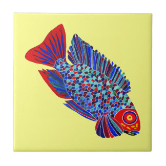 Tropical fish on yellow decorative tile