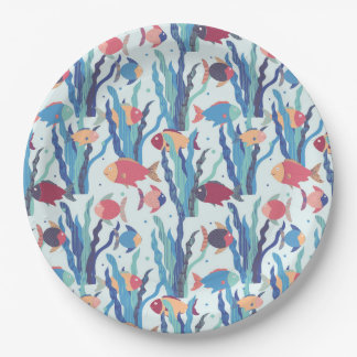 Tropical Fish Pattern in Blue Maroon and Apricot 9 Inch Paper Plate