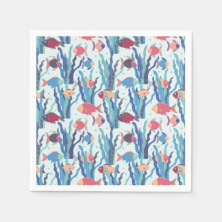 Tropical Fish Pattern in Blue Maroon and Apricot Disposable Napkin