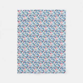 Tropical Fish Pattern in Blue Maroon and Apricot Fleece Blanket