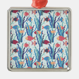 Tropical Fish Pattern in Blue Maroon and Apricot Metal Ornament