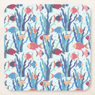 Tropical Fish Pattern in Blue Maroon and Apricot Square Paper Coaster