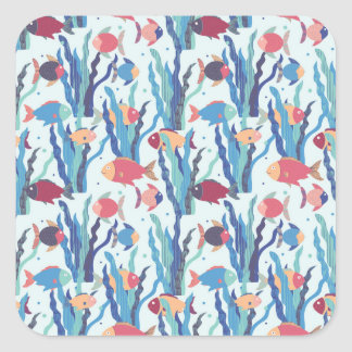 Tropical Fish Pattern in Blue Maroon and Apricot Square Sticker