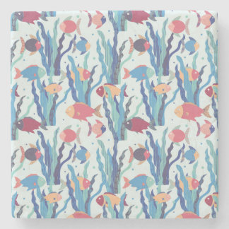 Tropical Fish Pattern in Blue Maroon and Apricot Stone Coaster